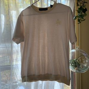 tee with yellow stripes & flower embroidery detail